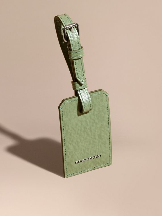 London Leather Luggage Tag Antique Green