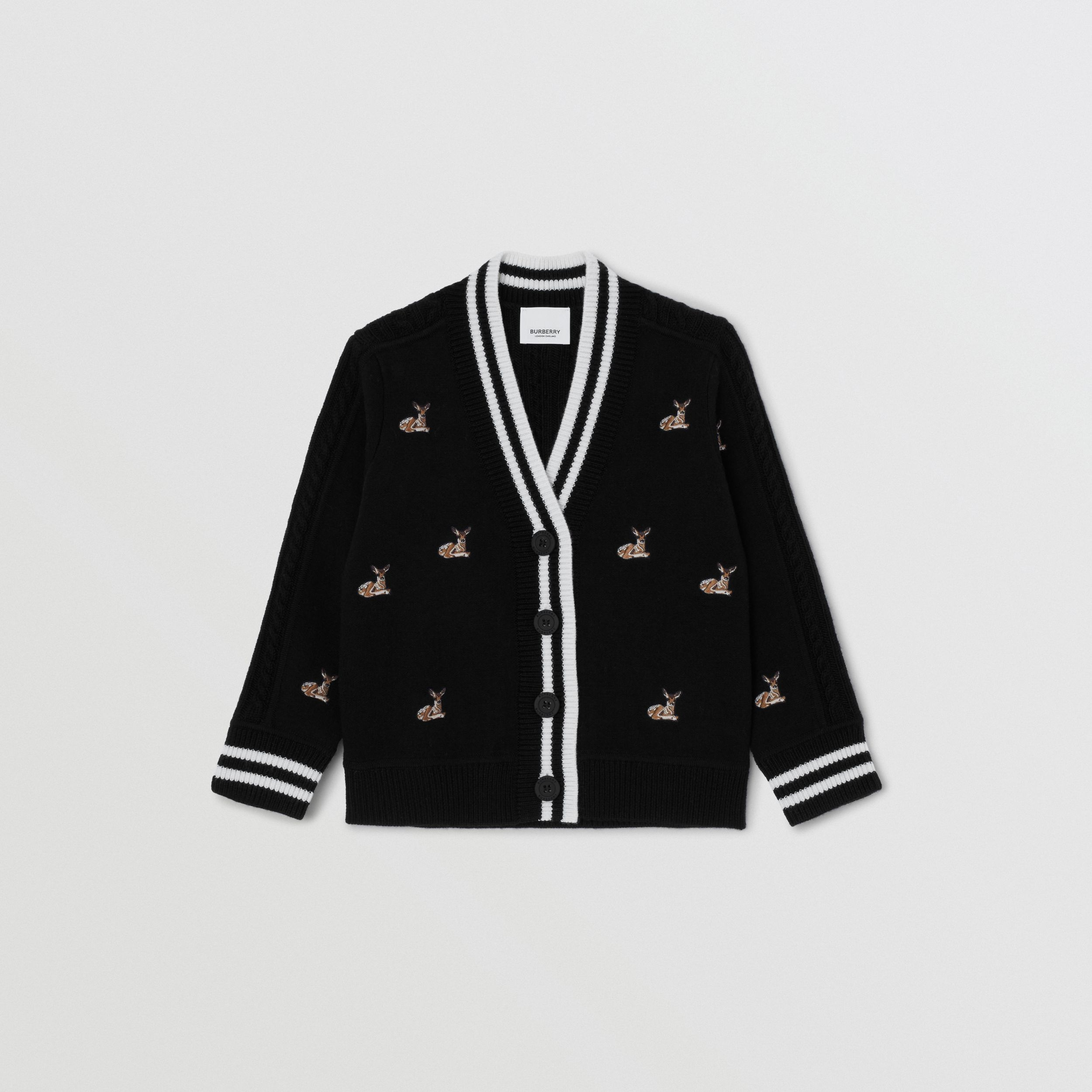 Deer Motif Wool Blend Cardigan | Burberry - 1