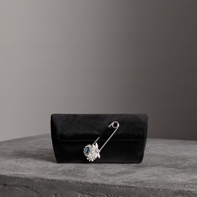 The Small Pin Clutch in Velvet - Grey Burberry MWysle1BK