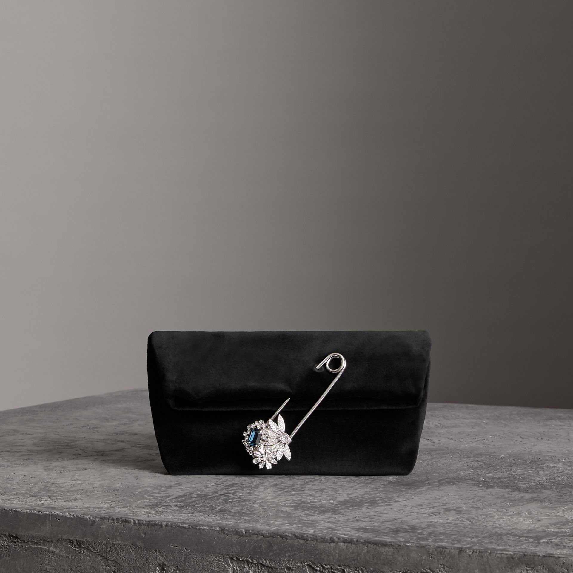 The Small Pin Clutch in Velvet in Black - Women | Burberry - gallery image 0