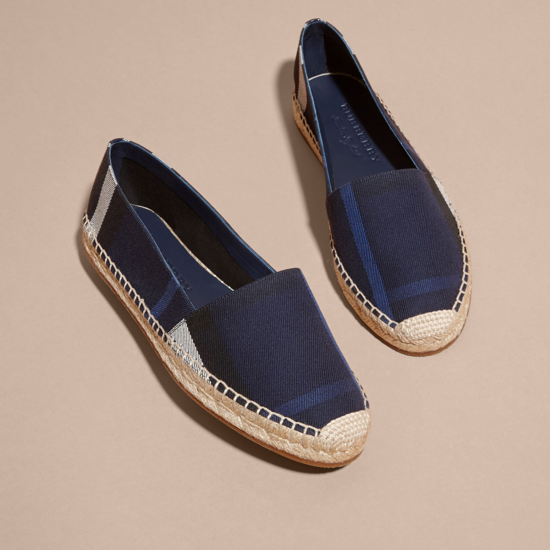 Leather Trim Canvas Check Espadrilles Indigo Blue - gallery image 3