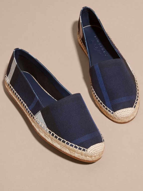 Leather Trim Canvas Check Espadrilles in Indigo Blue - Women | Burberry - cell image 2