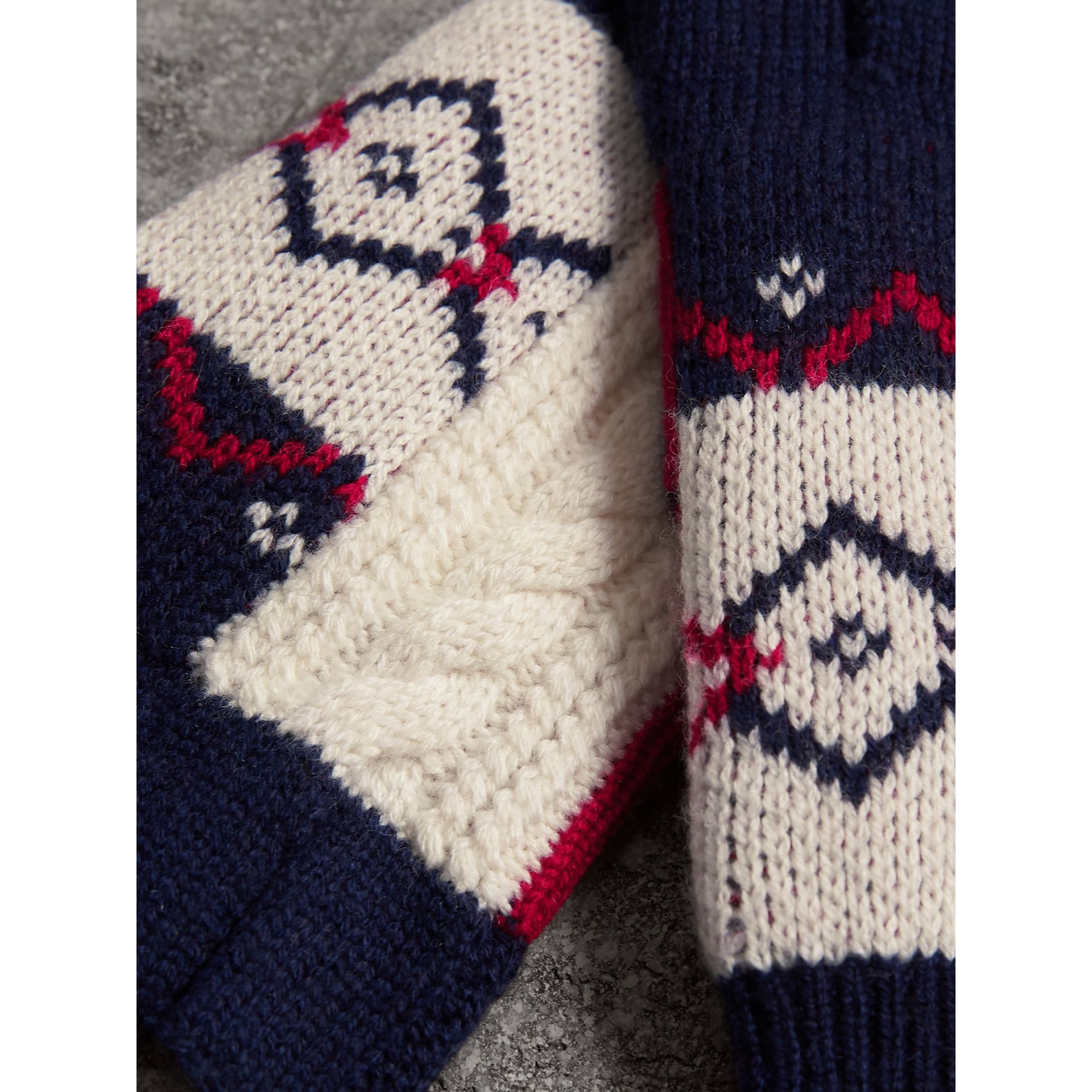 Geometric Cable Knit and Fair Isle Fingerless Gloves in Natural White | Burberry - gallery image 1