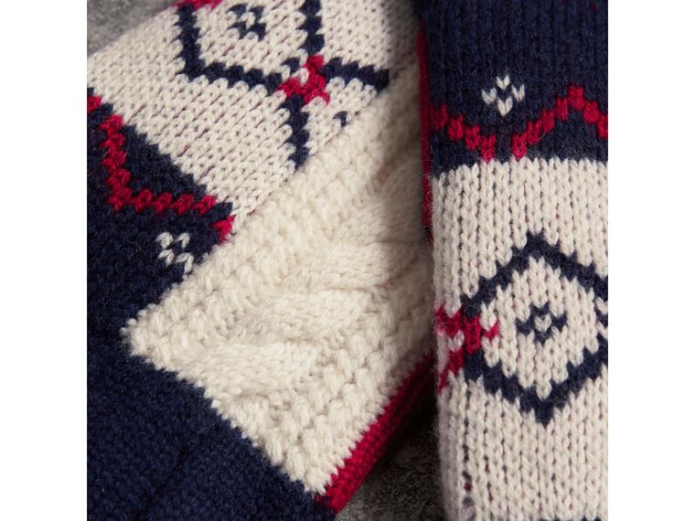 Geometric Cable Knit and Fair Isle Fingerless Gloves in Natural White | Burberry - cell image 1