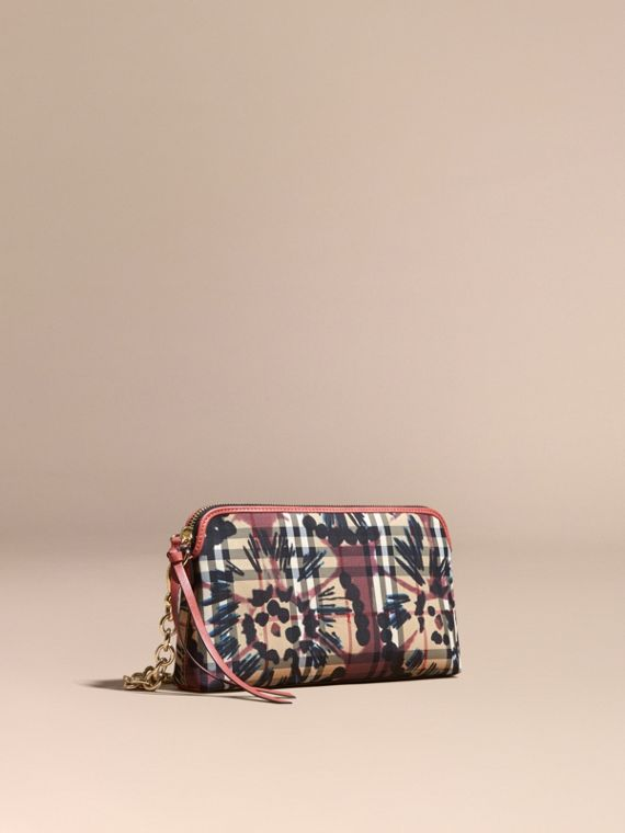 Tie-dye Print Horseferry Check and Leather Clutch Bag Mauve Pink/antique Rose