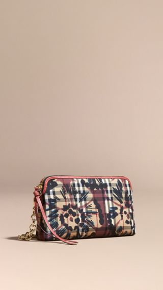 Tie-dye Print Horseferry Check and Leather Clutch Bag