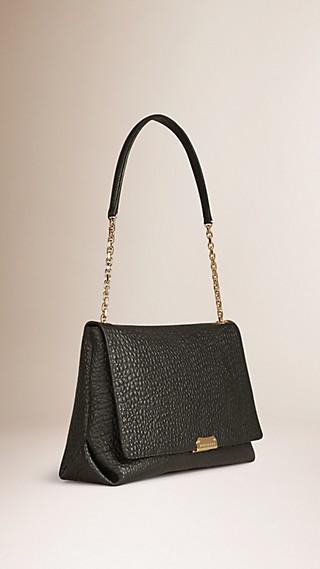 Grand sac porté épaule en cuir grainé emblématique