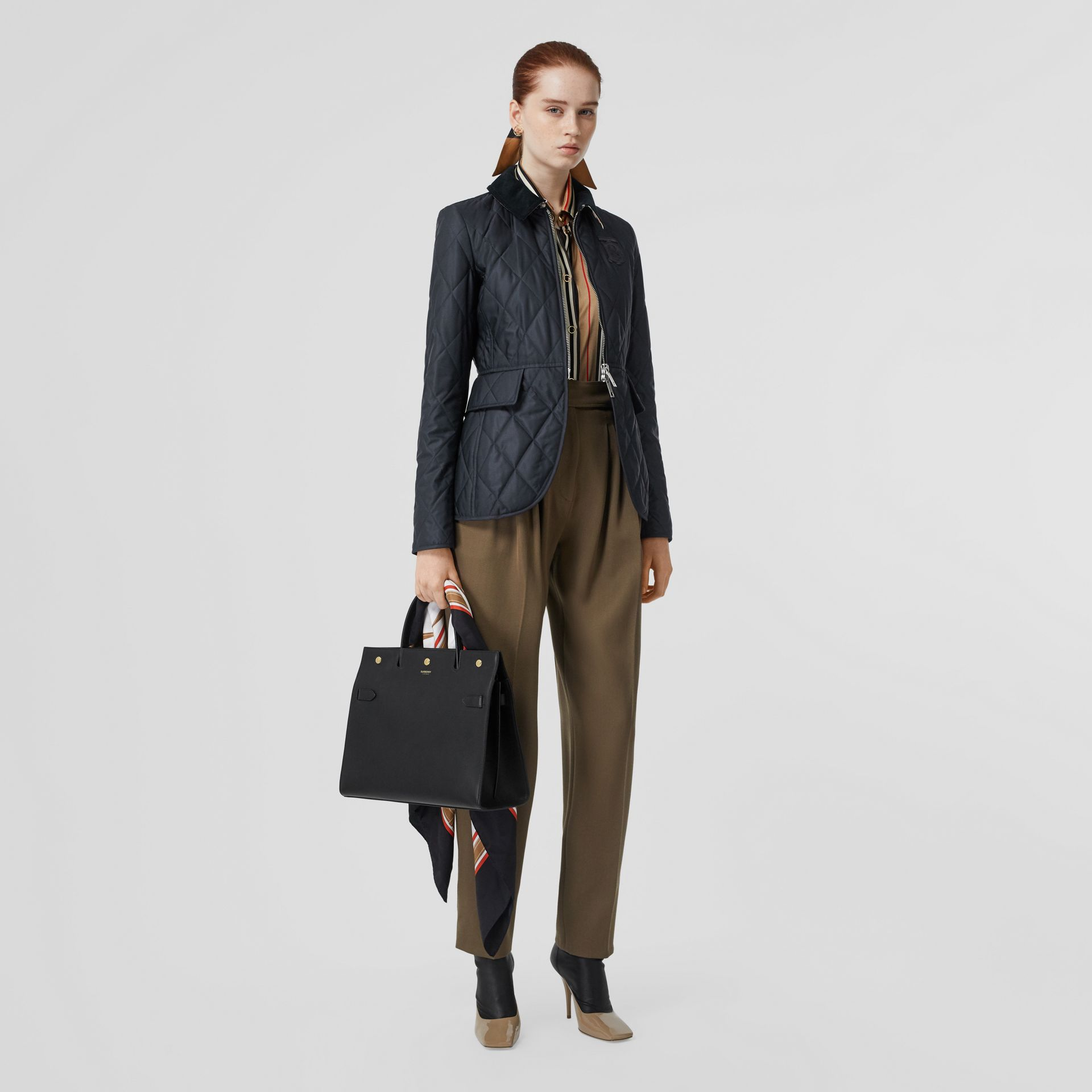 Monogram Motif Quilted Riding Jacket in Navy - Women | Burberry - gallery image 0