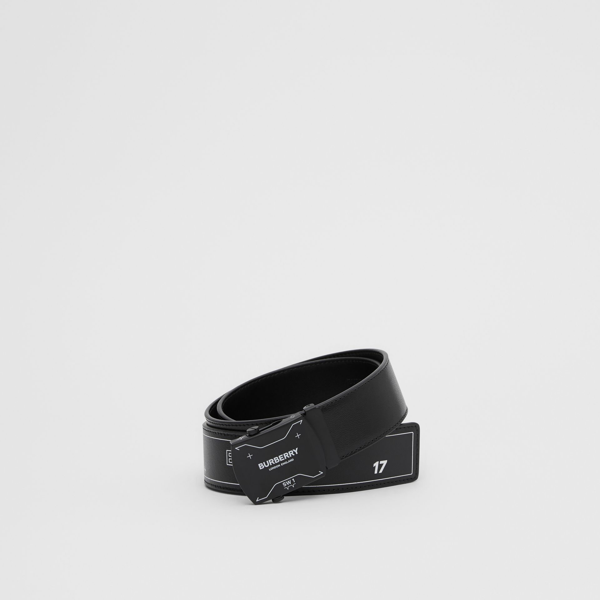 Symbol Print Plaque Buckle Leather Belt in Black - Men | Burberry - gallery image 0