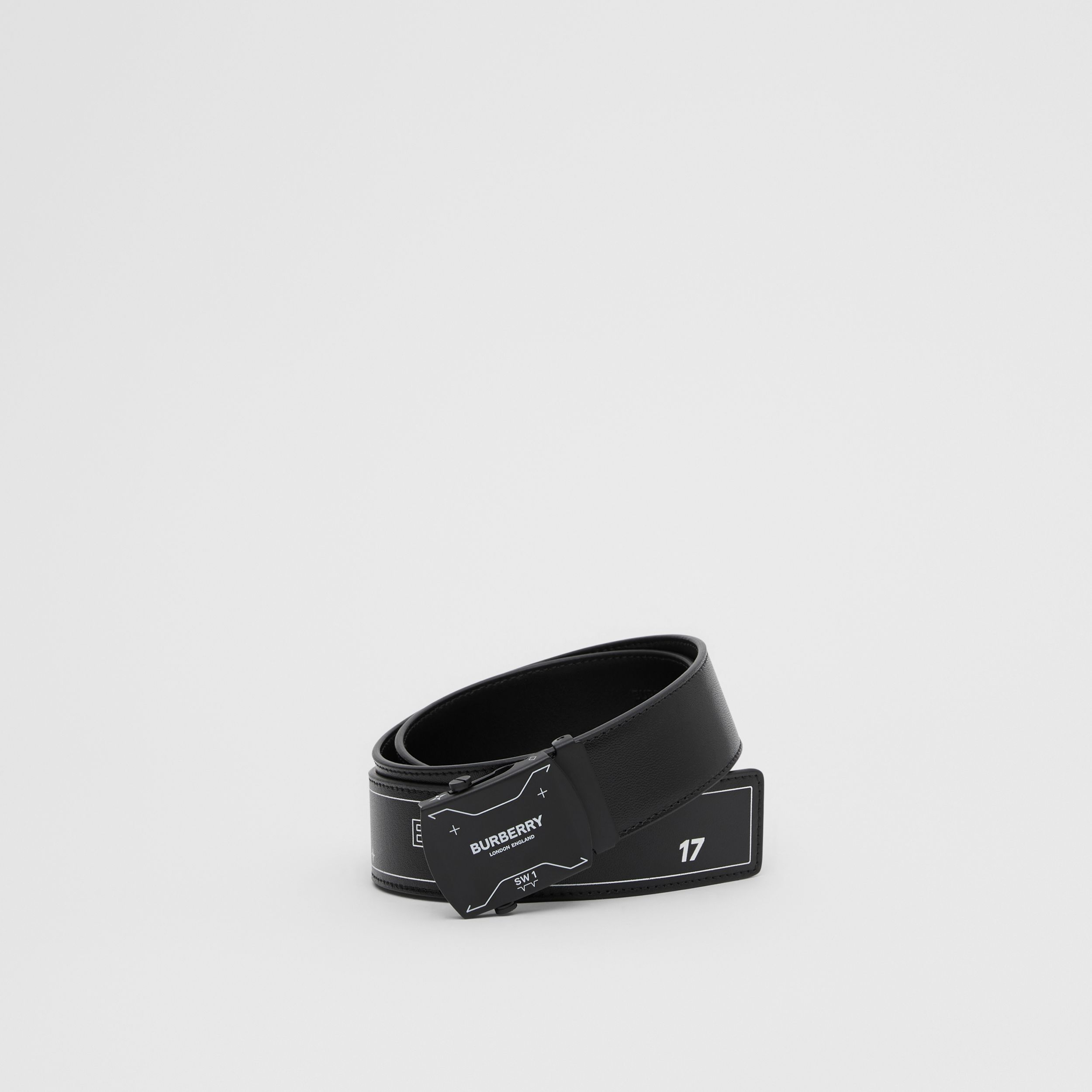 Symbol Print Plaque Buckle Leather Belt in Black - Men | Burberry - 1