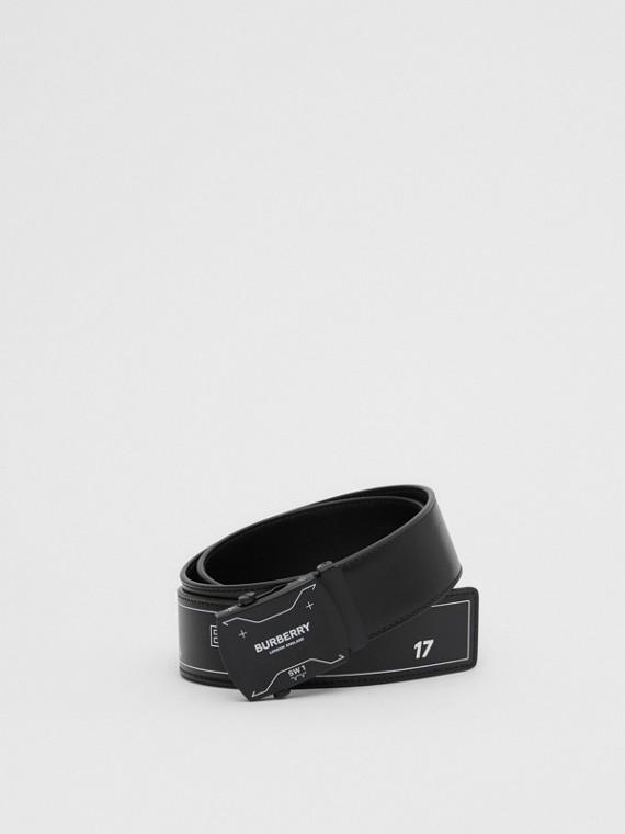 Symbol Print Plaque Buckle Leather Belt in Black