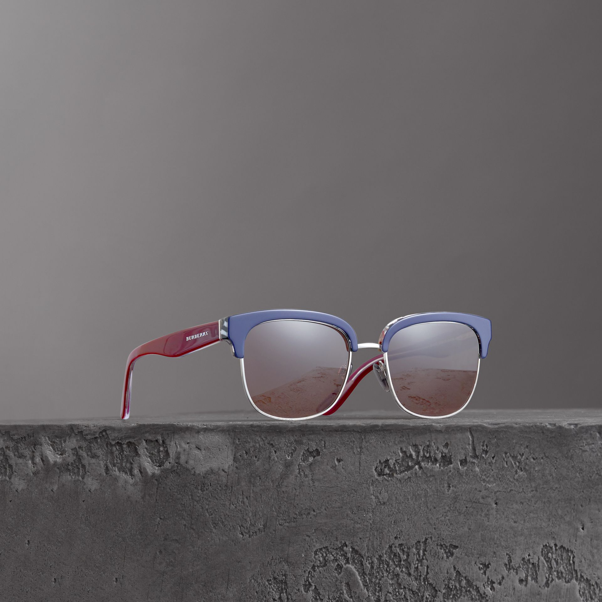 Check Detail D-frame Sunglasses in Blue - Men | Burberry United Kingdom - gallery image 0