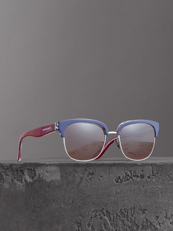 Check Detail D-frame Sunglasses in Blue