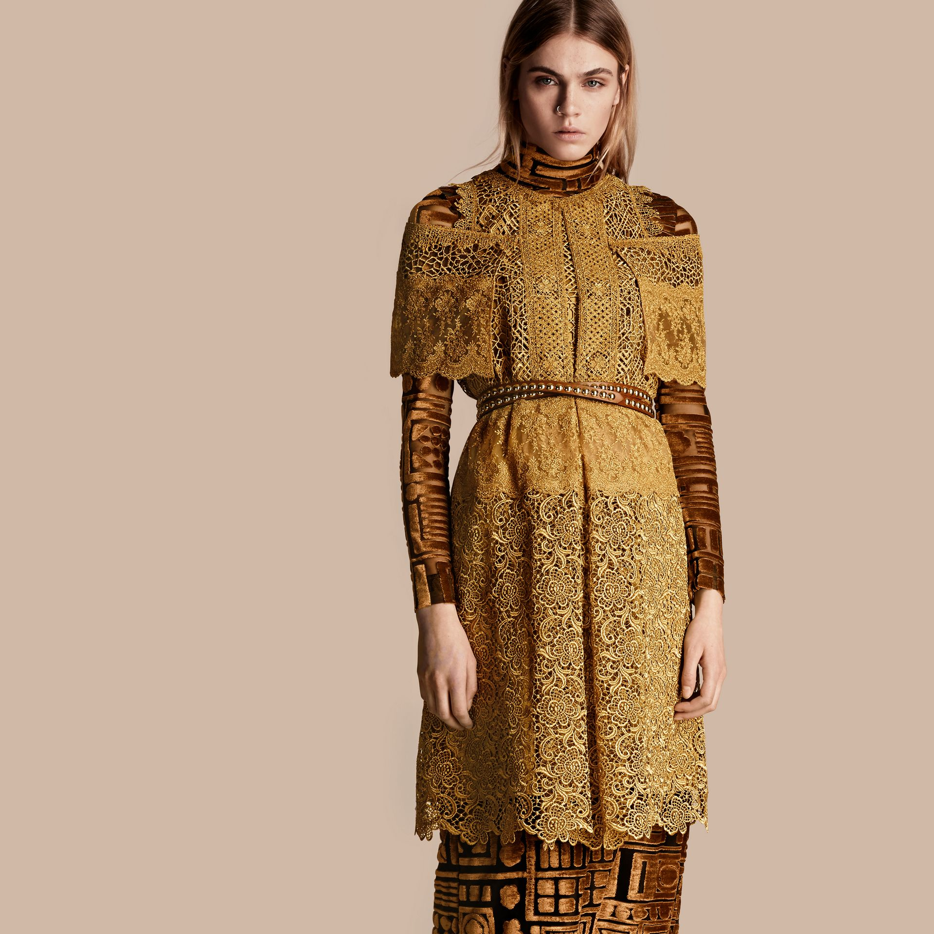 Gold Cape-sleeved Macramé Dress - gallery image 7
