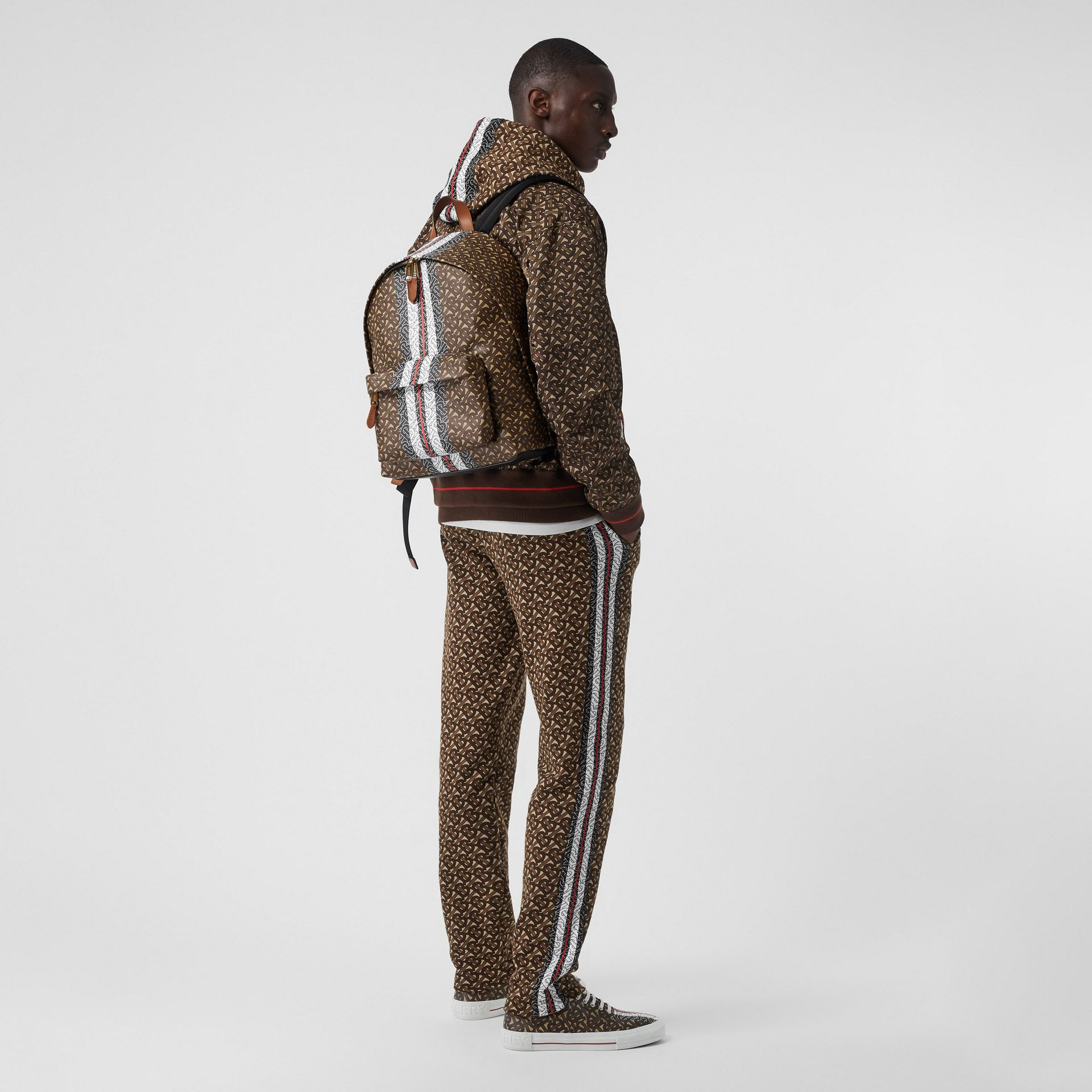 Monogram Stripe Print E-canvas Backpack in Bridle Brown | Burberry Australia - gallery image 7