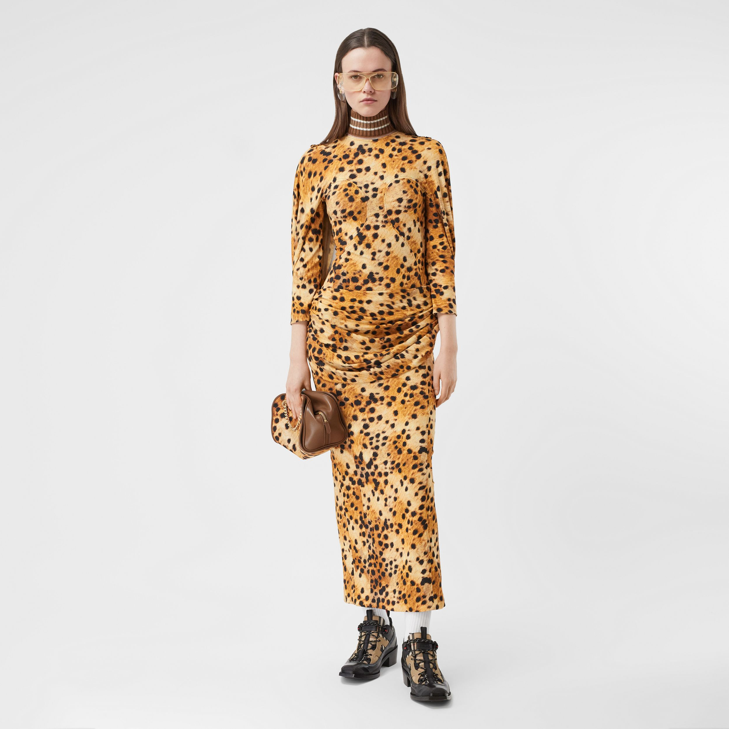 Sash Detail Spotted Monkey Print Dress in Nutmeg - Women | Burberry - 1