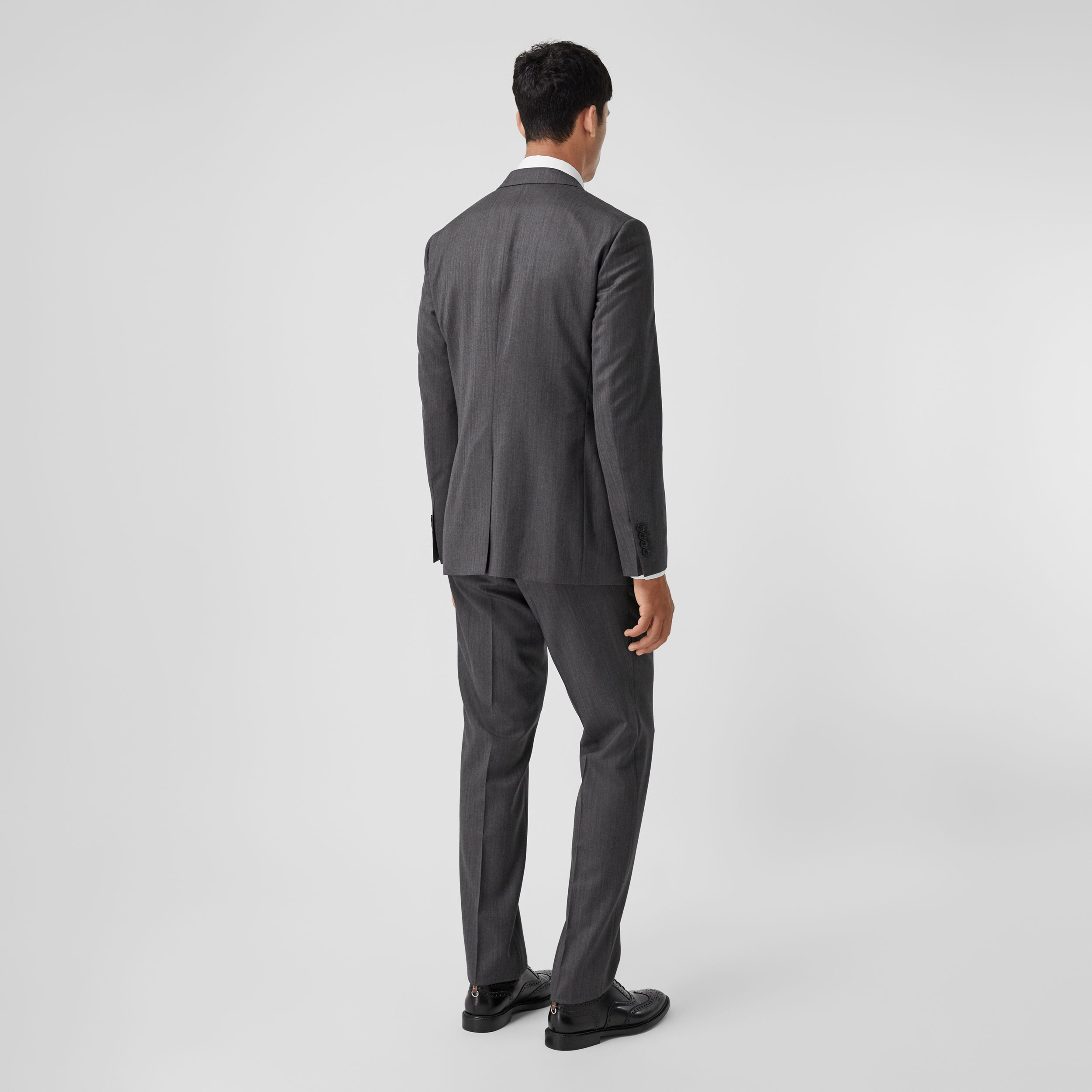 Slim Fit Herringbone Wool Suit in Mid Grey - Men | Burberry - 3