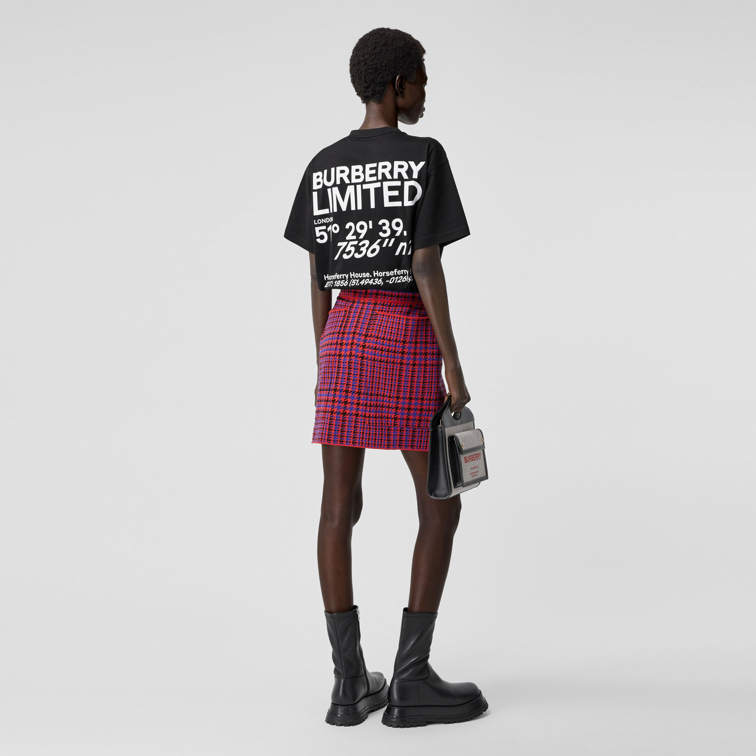 Coordinates Print Cotton Oversized T-shirt in Black - Women | Burberry - 1