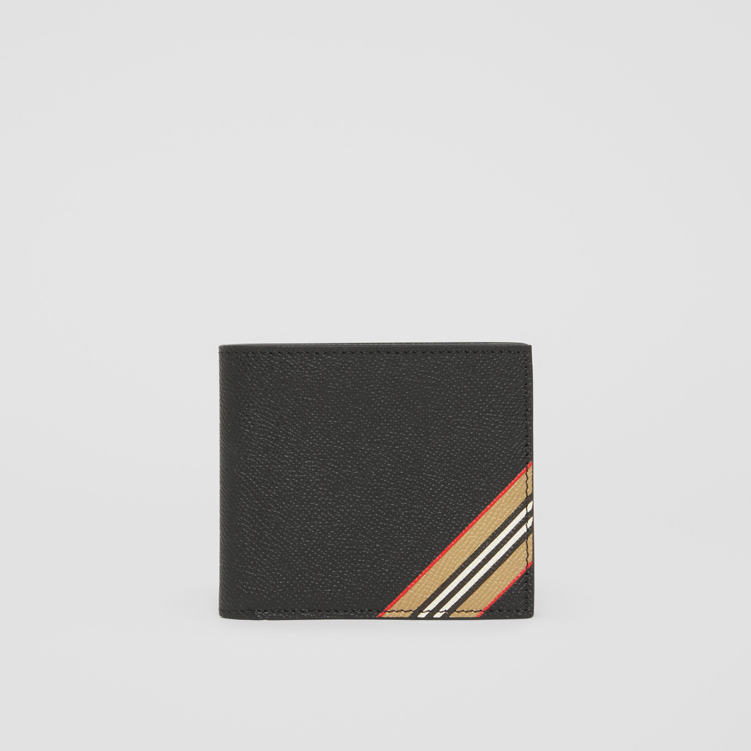 Icon Stripe Leather International Bifold Coin Wallet in Black - Men | Burberry - 3