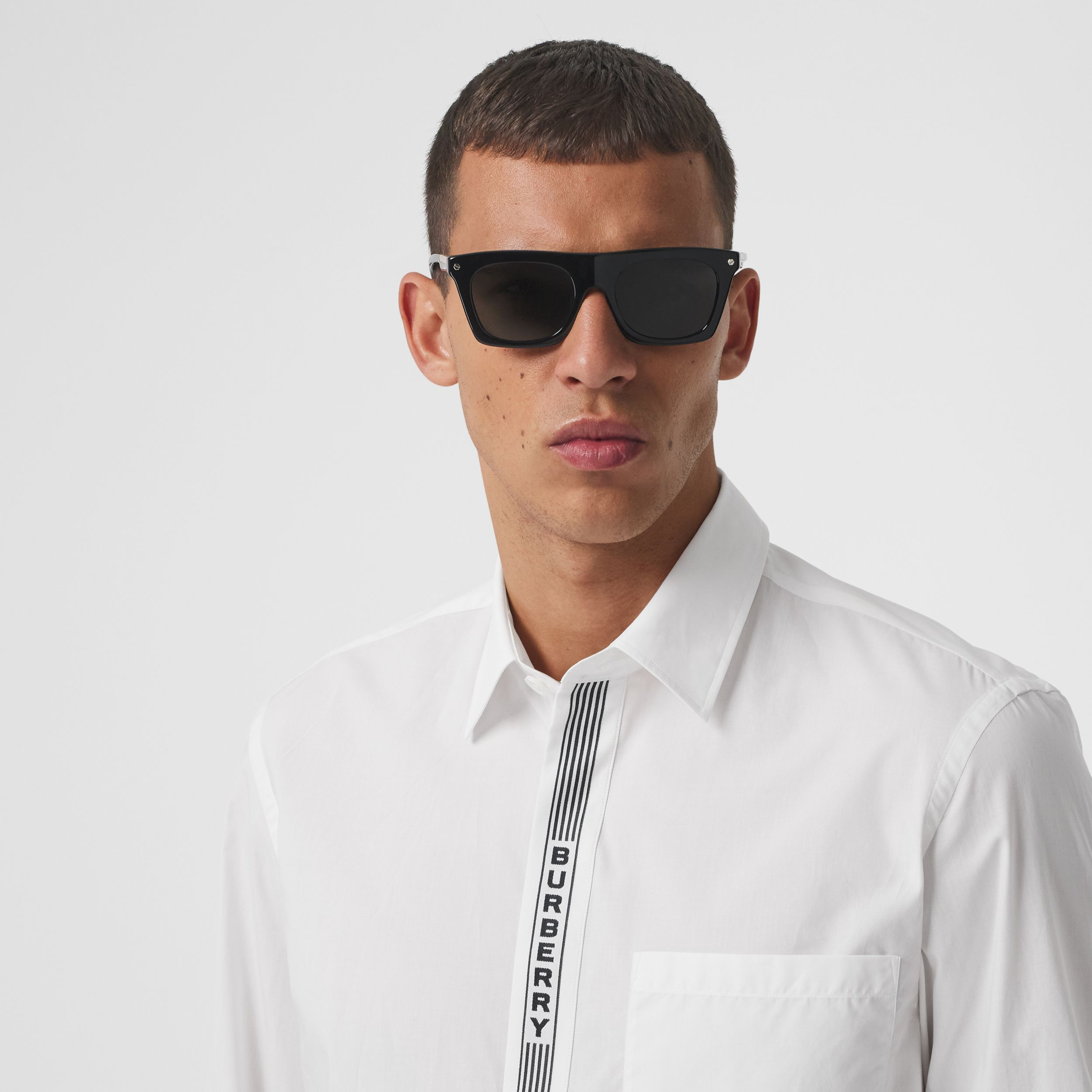 Logo Tape Cotton Shirt in White/black - Men | Burberry Australia - 2