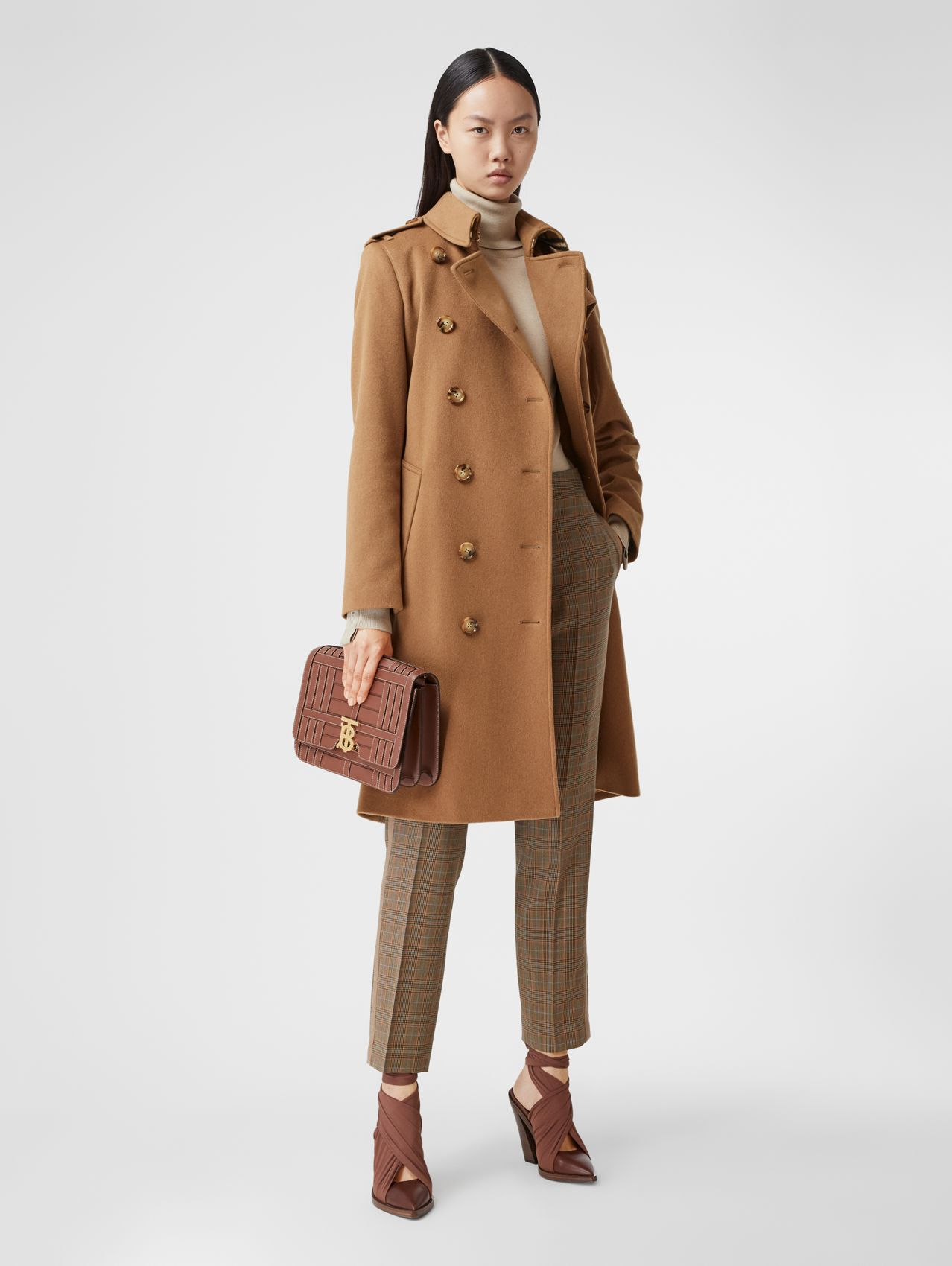 Regenerated Cashmere Trench Coat in Bronze