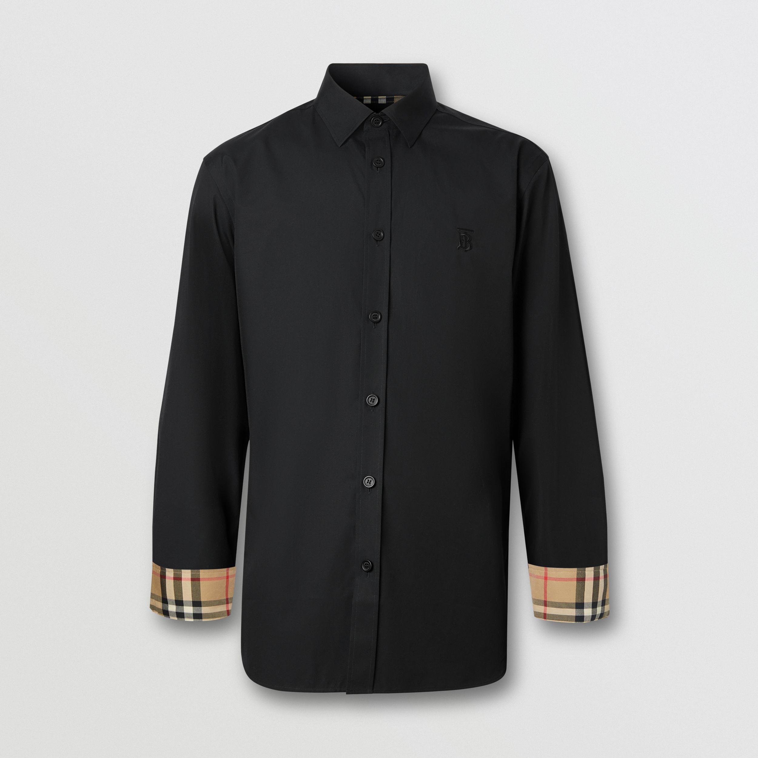 Slim Fit Monogram Motif Stretch Cotton Poplin Shirt in Black - Men | Burberry - 4