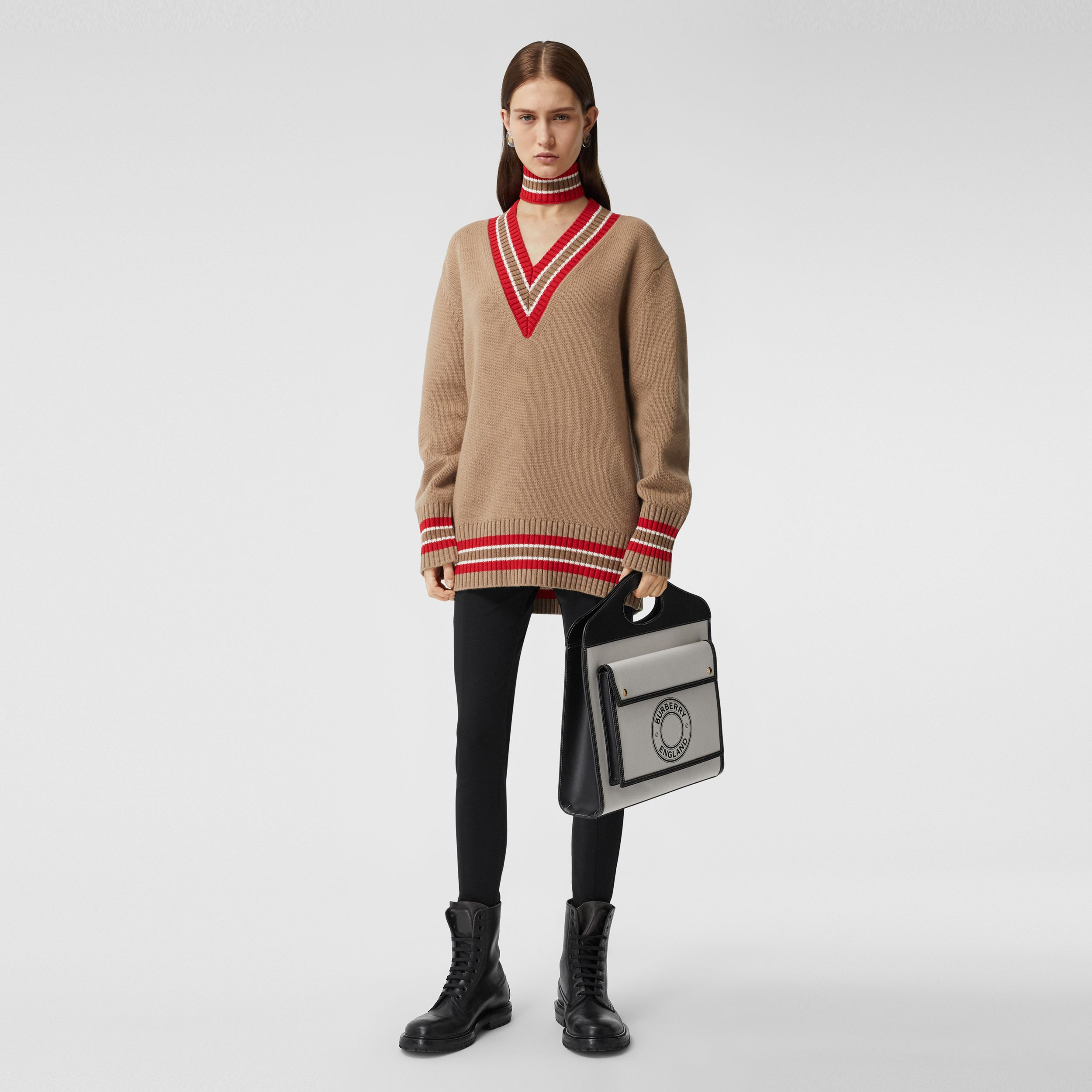 Wool Oversized Cricket Sweater in Camel - Women | Burberry Canada - 1