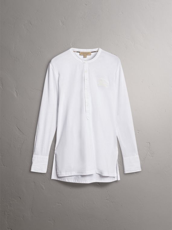 Cotton Henley Top in White - Men | Burberry - cell image 3