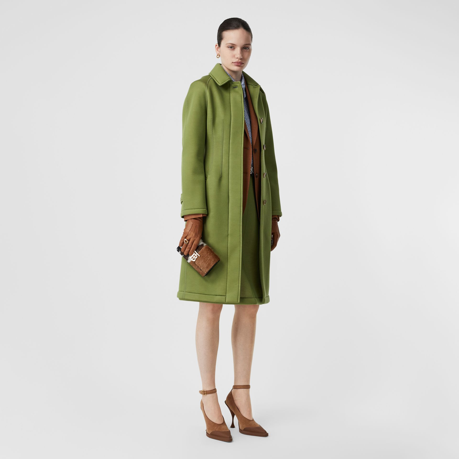 Bonded Neoprene Tailored Car Coat in Cedar Green - Women | Burberry - gallery image 0
