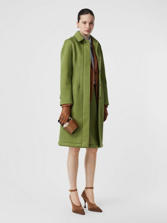 Bonded Neoprene Tailored Car Coat in Cedar Green