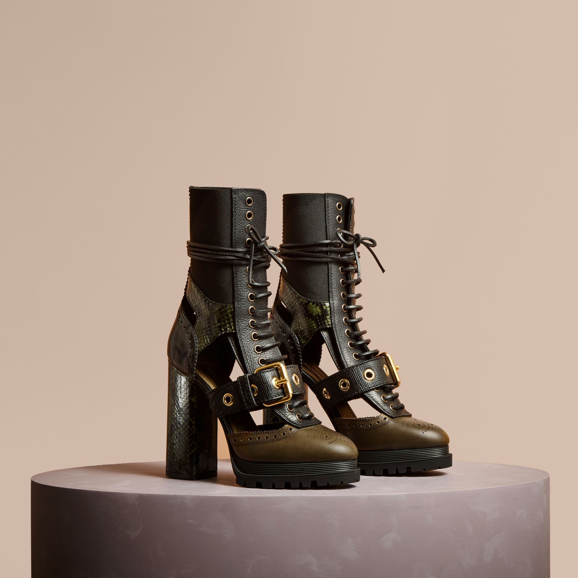 Military olive Leather and Snakeskin Cut-out Platform Boots Military Olive - gallery image 1