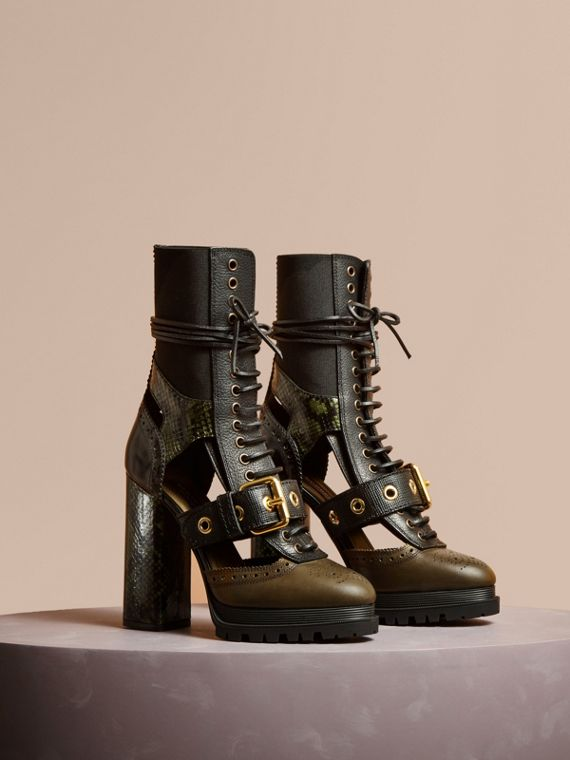 Leather and Snakeskin Cut-out Platform Boots Military Olive