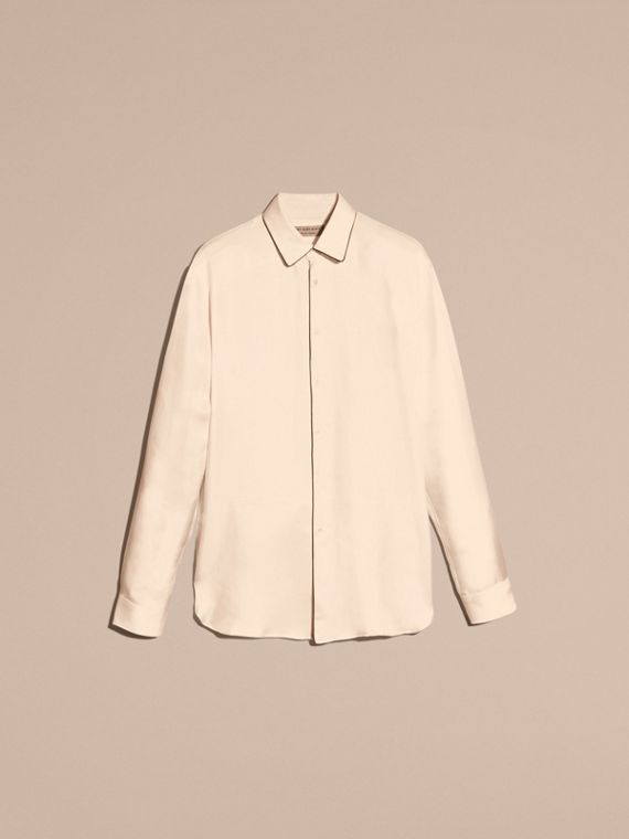 Natural white Piped Modern Fit Silk Shirt - cell image 3