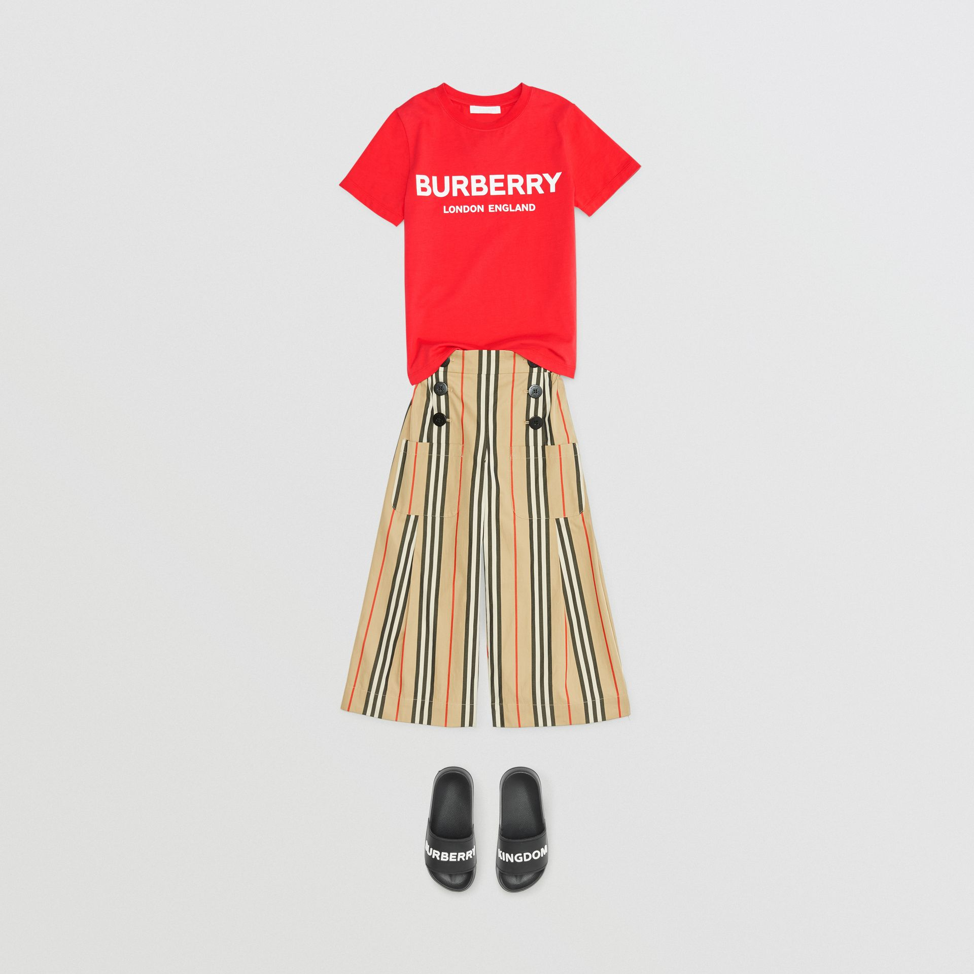 Logo Print Cotton T-shirt in Bright Red | Burberry - gallery image 3