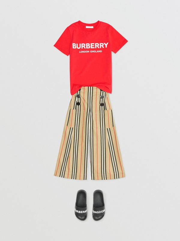 Logo Print Cotton T-shirt in Bright Red | Burberry - cell image 3