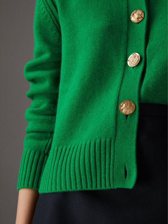 Bird Button Cashmere Cardigan in Mineral Green - Women | Burberry United Kingdom - cell image 1