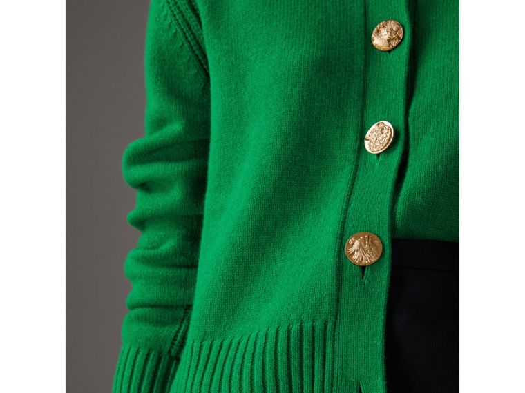 Cardigan in cashmere con bottoni decorati (Verde Minerale) - Donna | Burberry - cell image 1