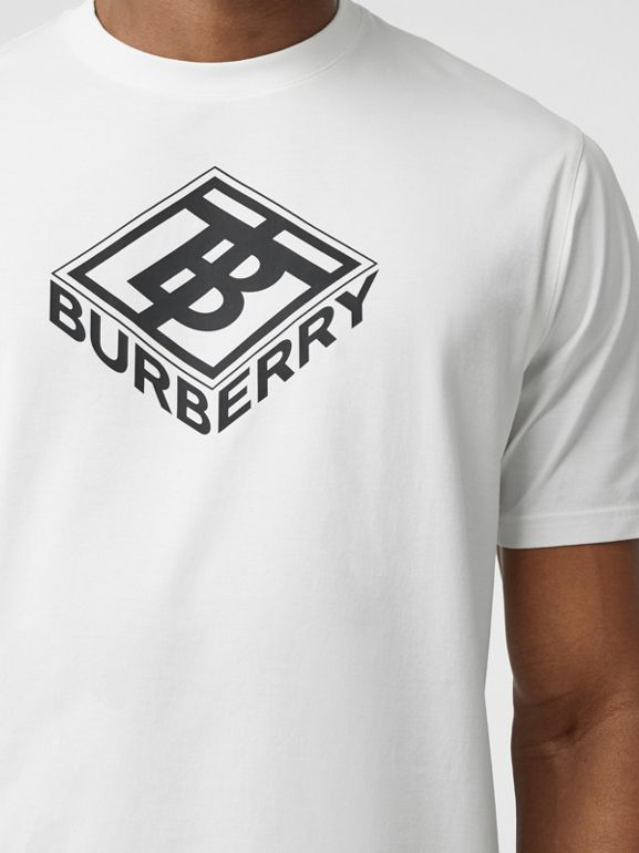 Logo Graphic Cotton T-shirt in White - Men | Burberry - cell image 1