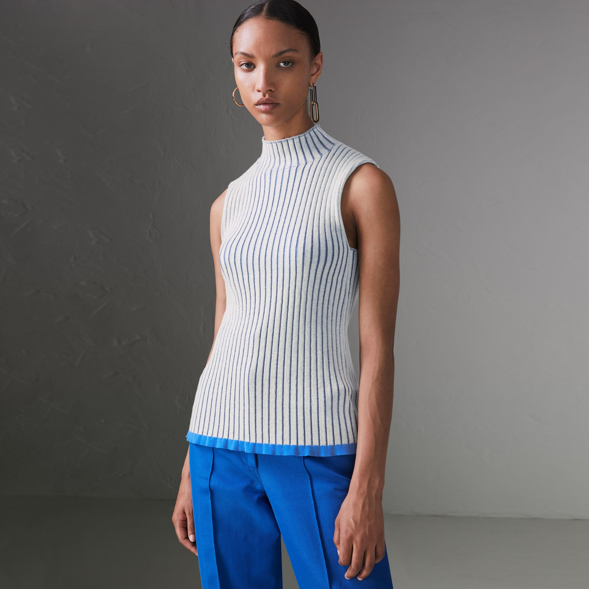 Sleeveless Rib Knit Cashmere Silk Turtleneck Sweater in Grey - Women | Burberry Singapore - gallery image 0