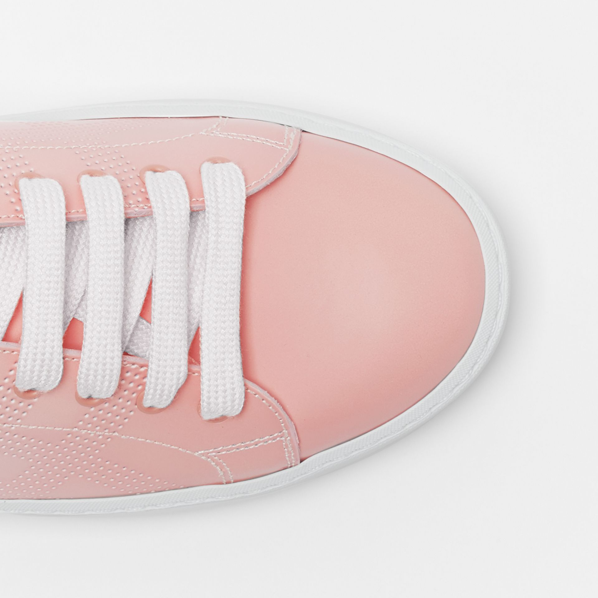 Perforated Check Dégradé Leather Sneakers in Sugar Pink - Women | Burberry - gallery image 3