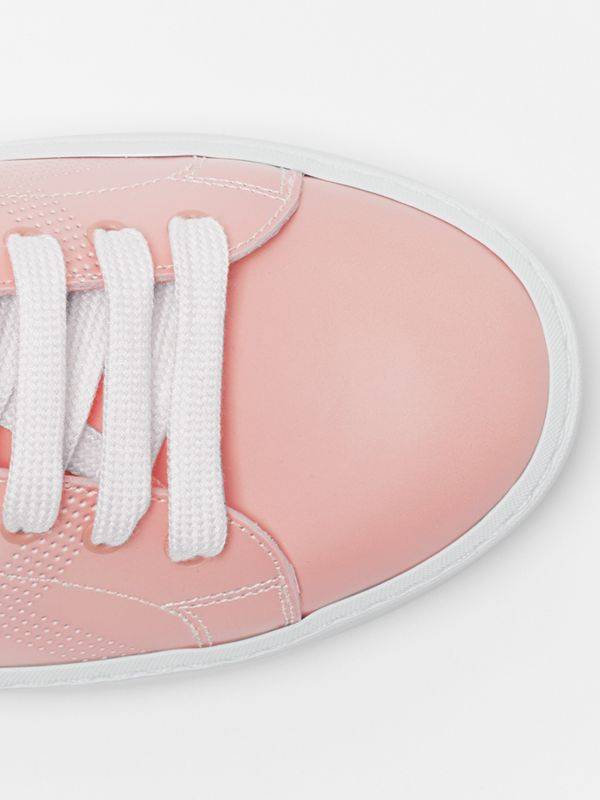 Perforated Check Dégradé Leather Sneakers in Sugar Pink - Women | Burberry - cell image 3
