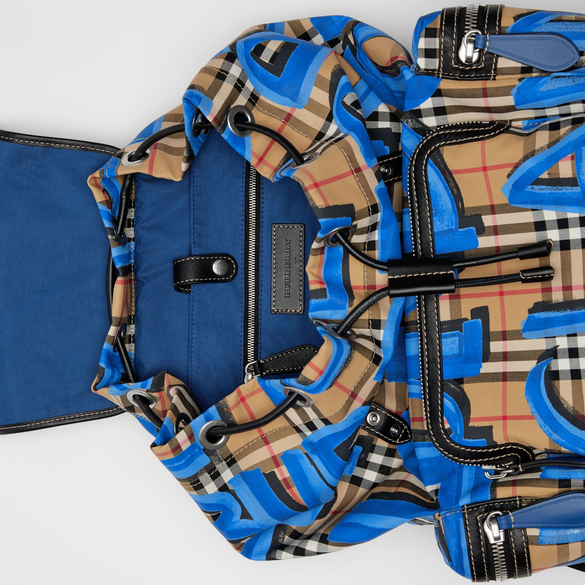 The Large Rucksack in Graffiti Print Vintage Check in Canvas Blue/antique Yellow - Men | Burberry - gallery image 5