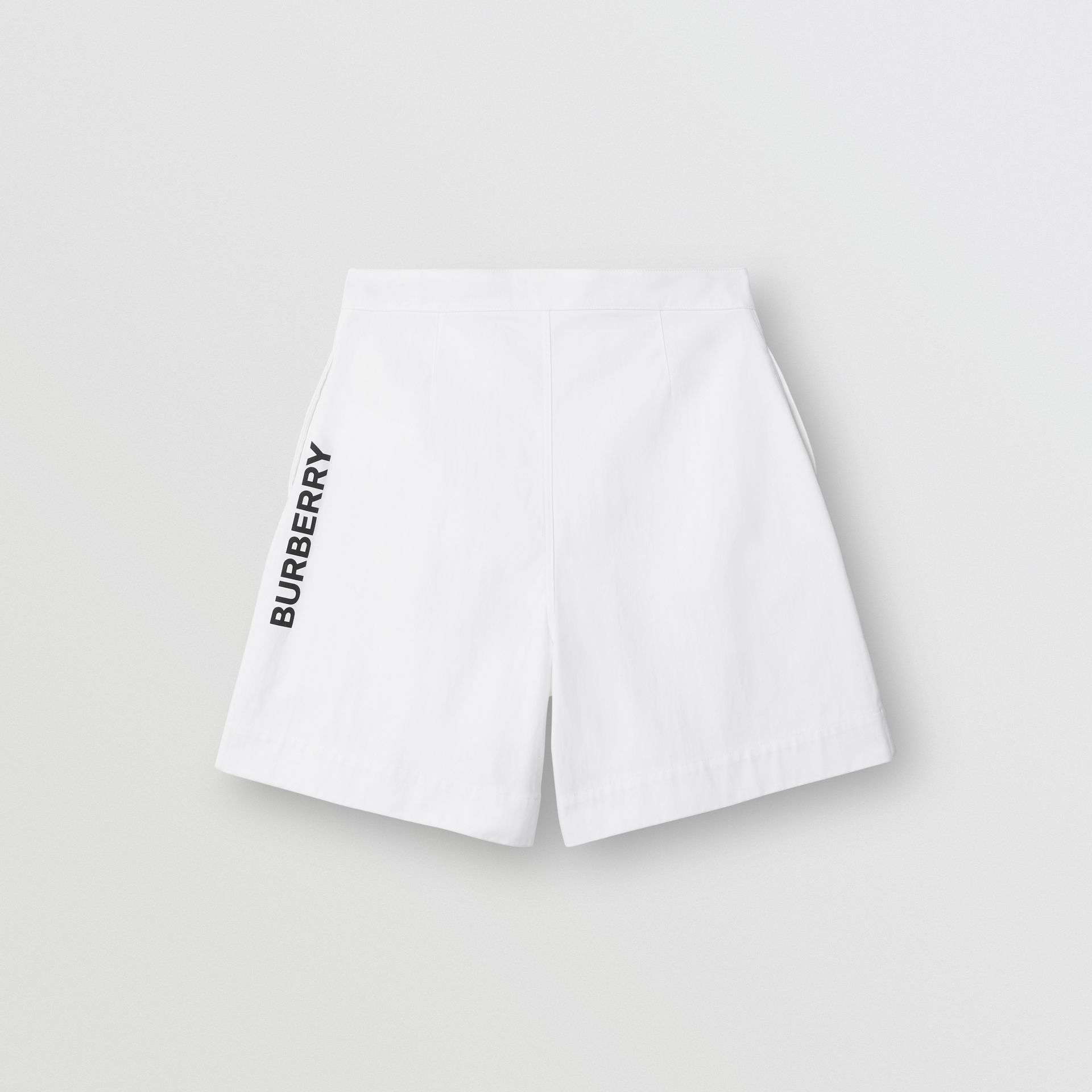 Logo Print Cotton Tailored Shorts in Optic White | Burberry Hong Kong - gallery image 0