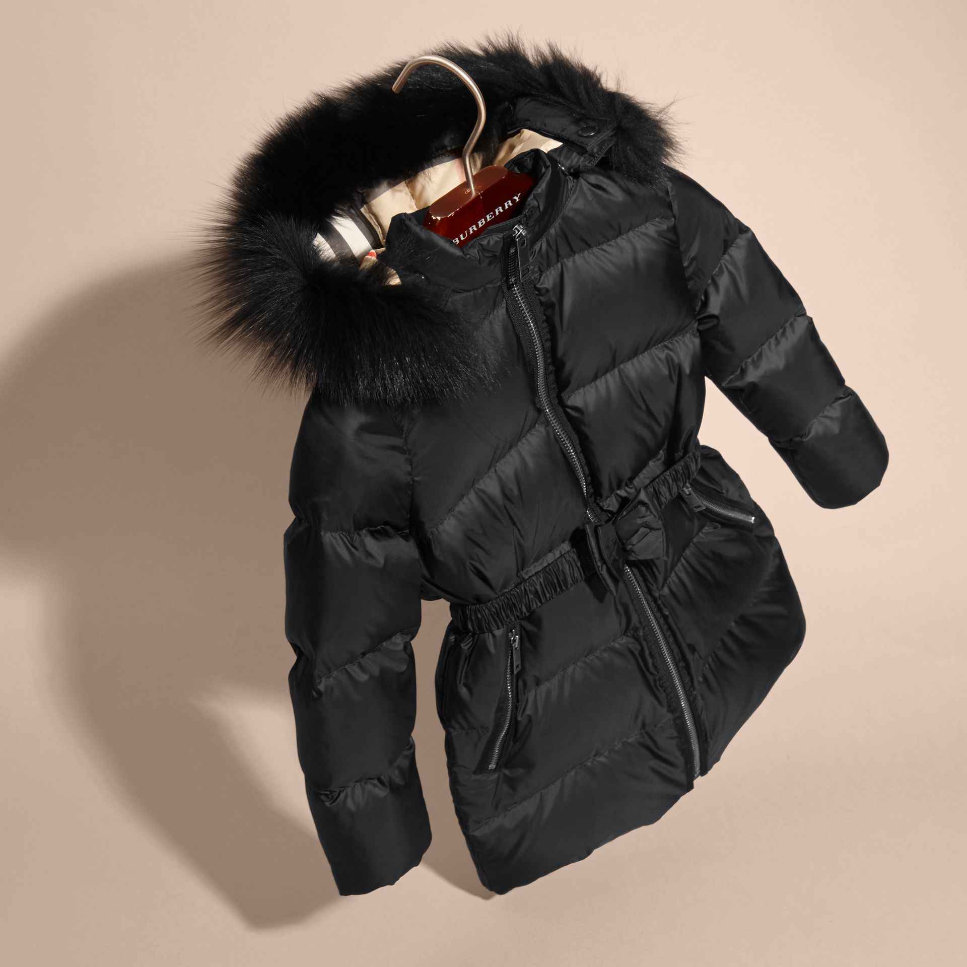 Detachable Fox Fur Trim Hood Down-filled Coat in Black - Girl | Burberry Canada - gallery image 3
