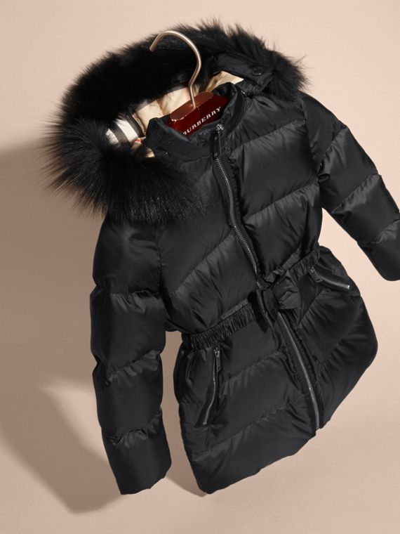 Detachable Fox Fur Trim Hood Down-filled Coat in Black - Girl | Burberry Canada - cell image 2