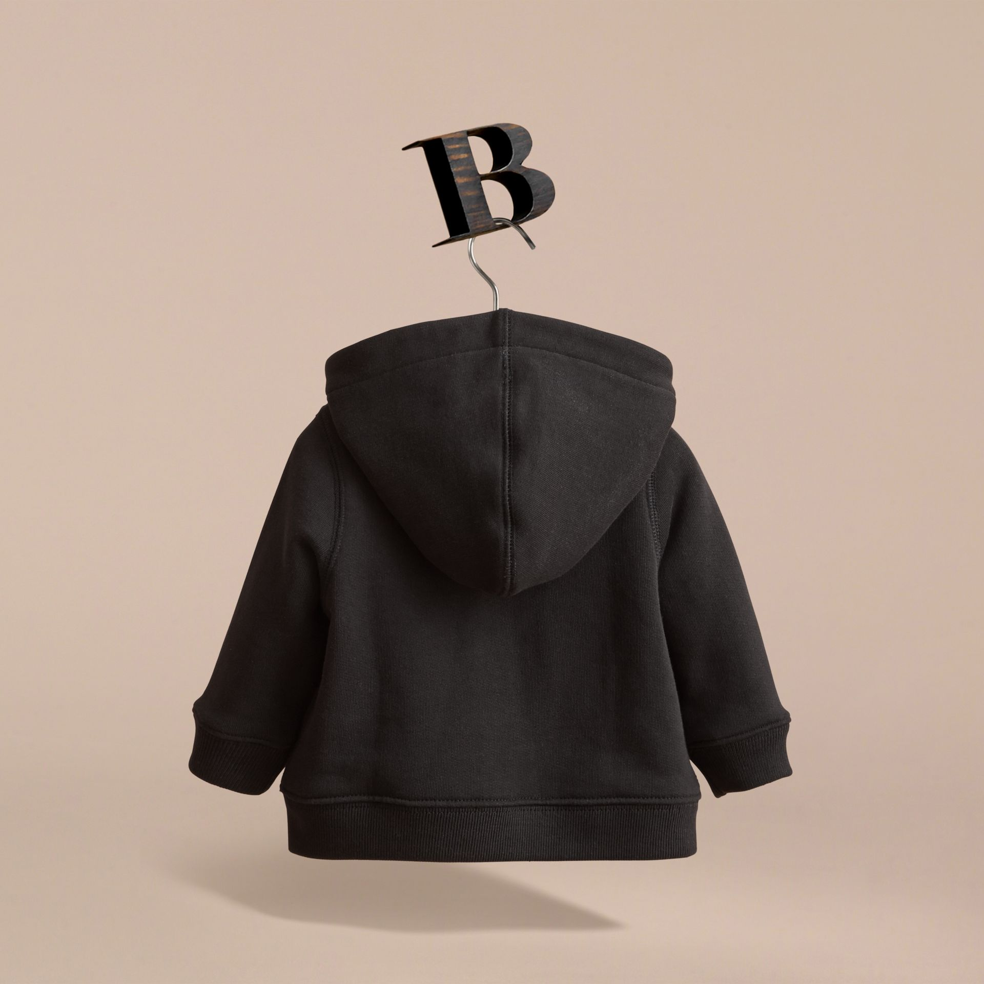 Check Detail Hooded Cotton Top in Black | Burberry - gallery image 4