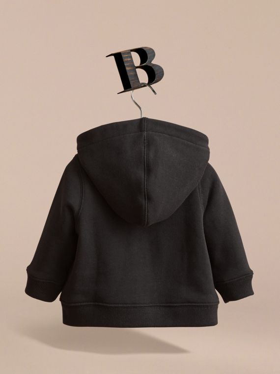Check Detail Hooded Cotton Top in Black | Burberry Singapore - cell image 3