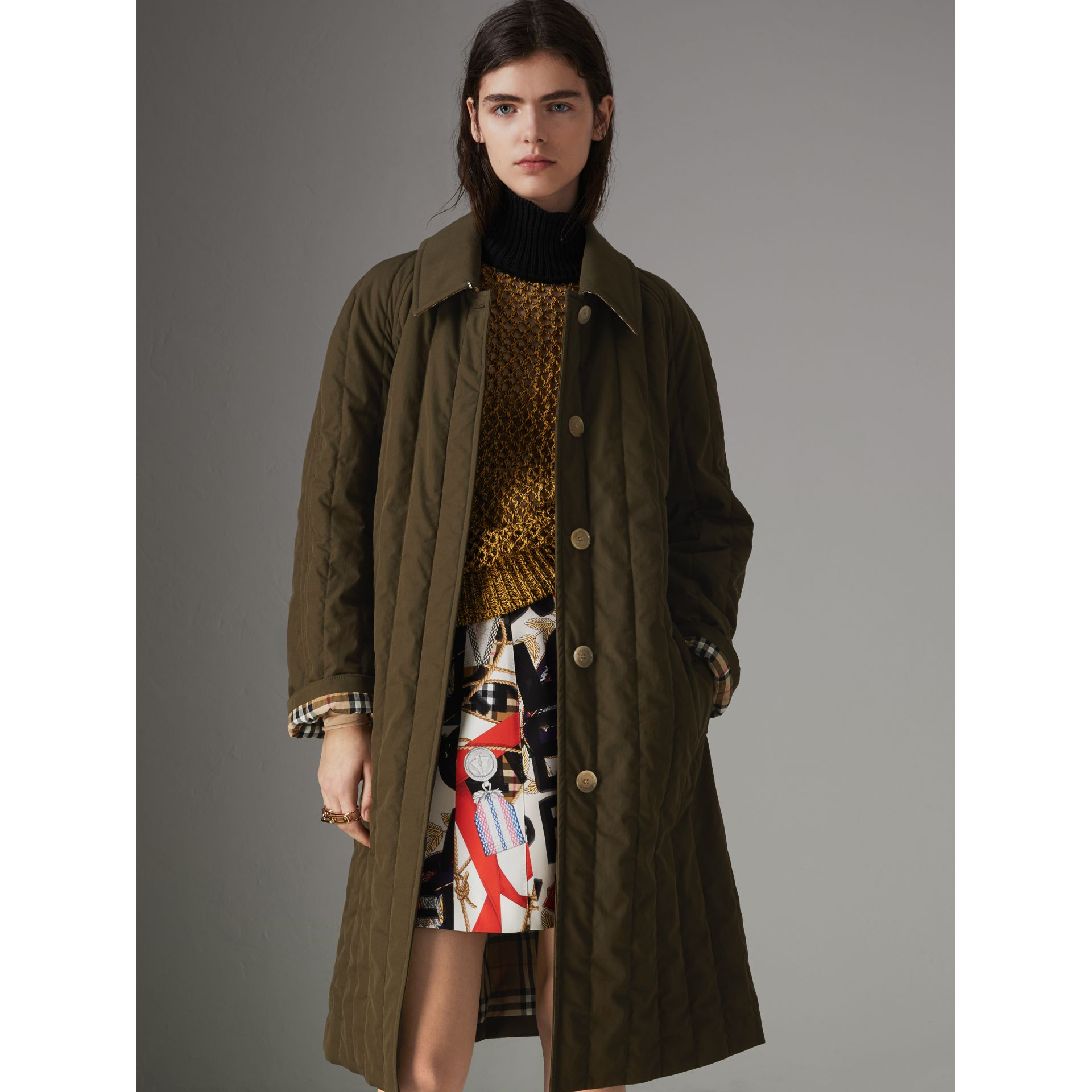 Quilted Tropical Gabardine Car Coat in Dark Military Khaki - Women | Burberry Australia - gallery image 7
