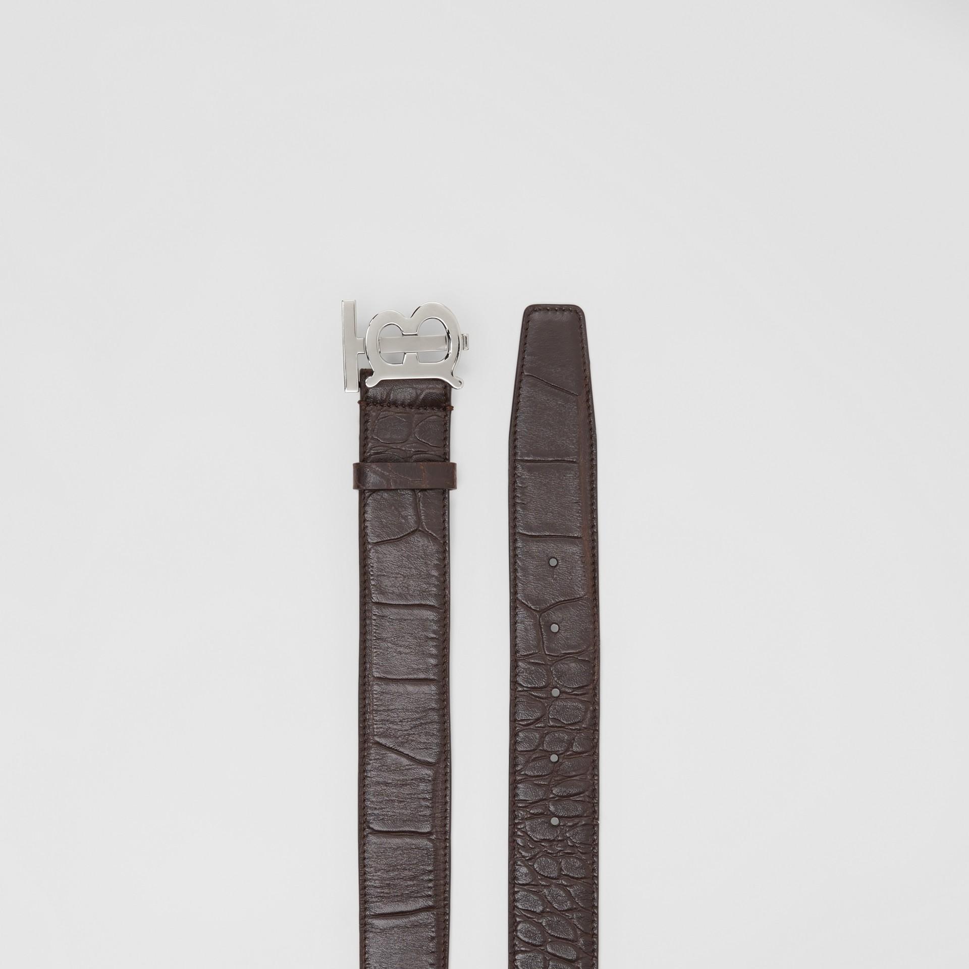 Monogram Motif Embossed Leather Belt in Brown - Men | Burberry - gallery image 5