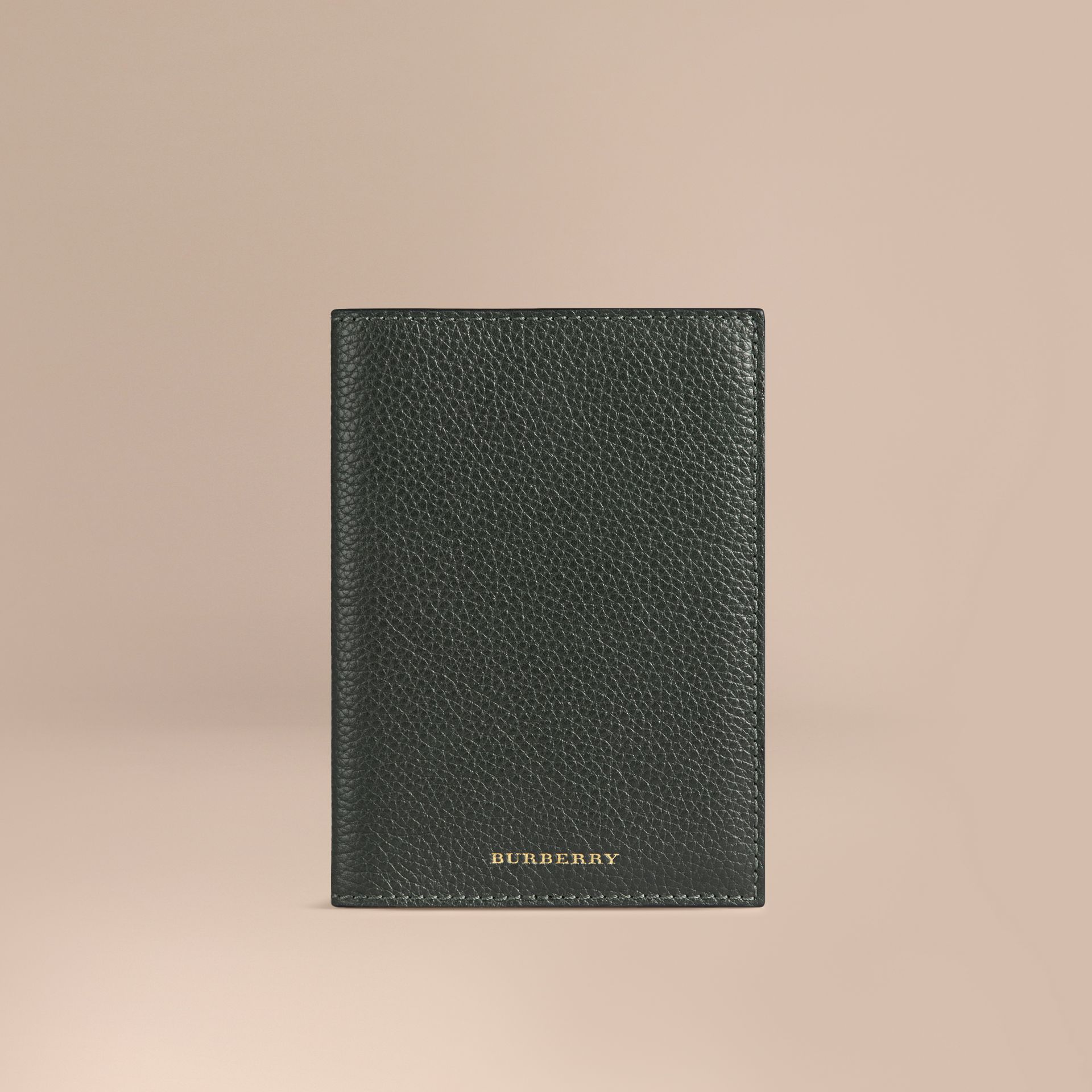 Grainy Leather Passport Cover in Dark Forest Green | Burberry - gallery image 1